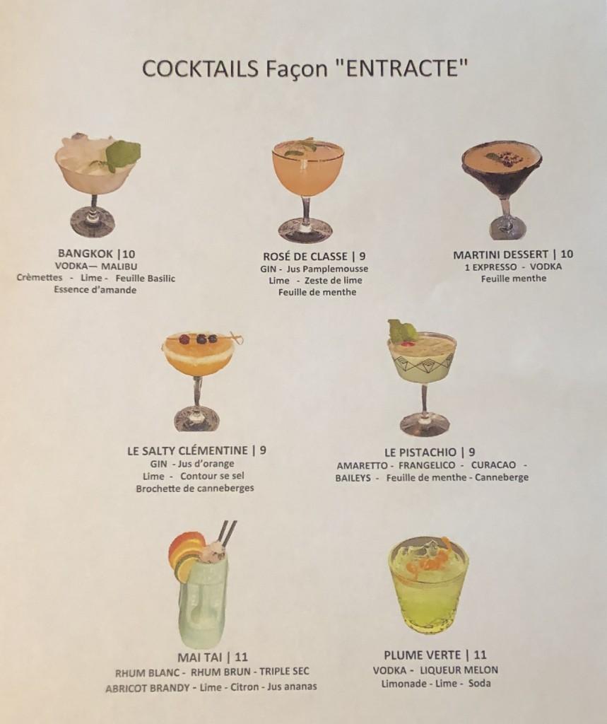 Cocktails façon Entracte